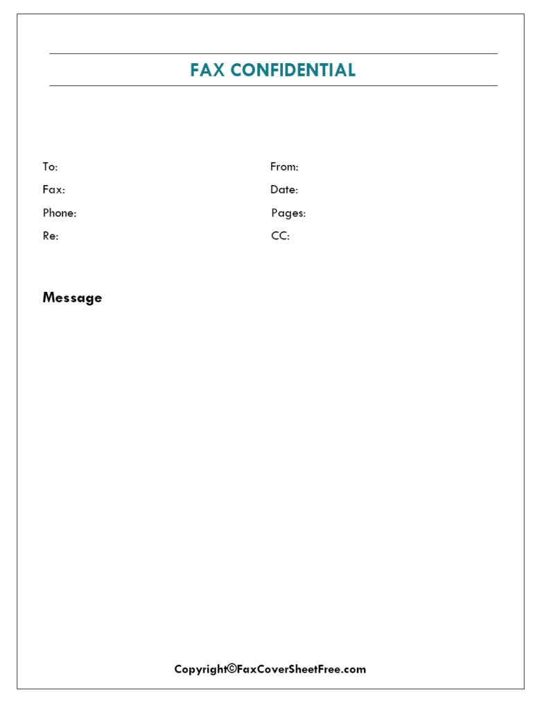 Confidential Fax Cover Page
