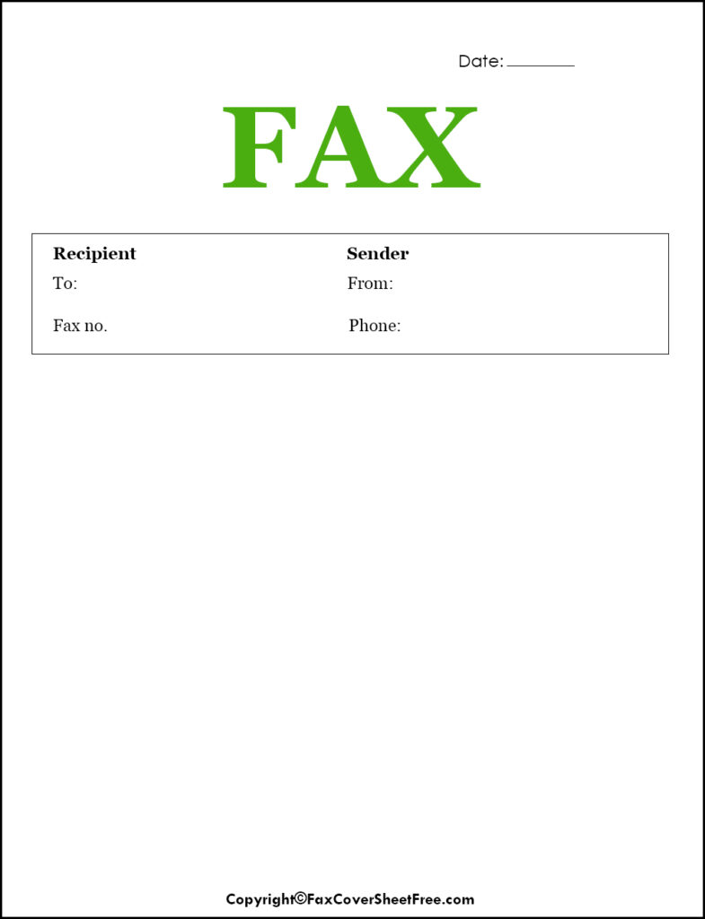 Printable Fax Cover Page PDF